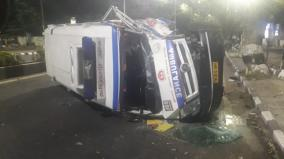 108-ambulance-collides-with-road-accident-in-adyar-driver-nurse-injured