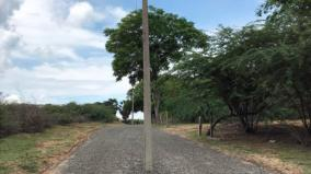 rameswaram-tar-road-levelled-not-removing-the-electric-post