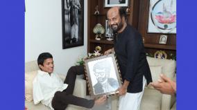 kerala-handicapped-painter-meet-rajinikanth