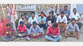 youth read books in road