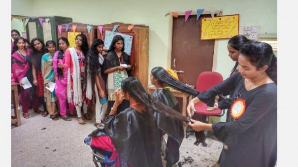 puducherry-government-college-students-and-professors-donate-hair-to-help-cancer-patients