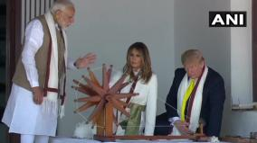 president-donald-trump-and-first-lady-melania-trump-spin-the-charkha-at-sabarmati-ashram
