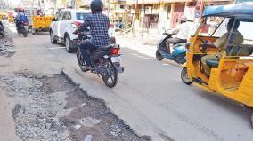 madurai-corporation-road-repair-work-delay-irks-public