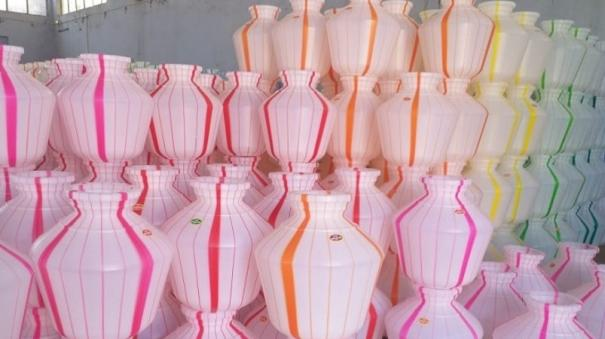 theni-plastic-pot-factories-get-orders-as-summer-nears