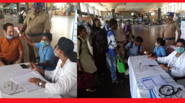 corona-precaution-check-at-koyambedu-bus-terminal-conducted-for-travelers-and-employees