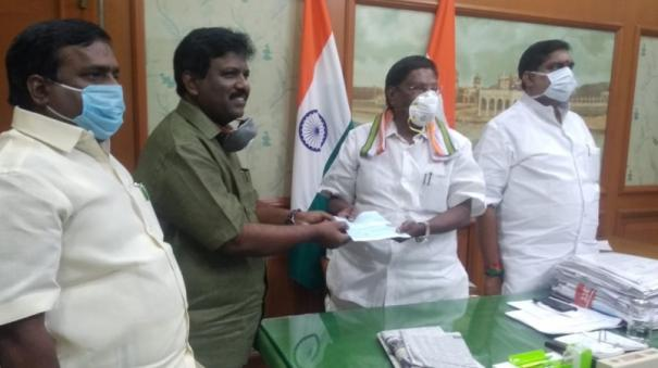 vck-gives-one-month-salary-to-puduchery-fund