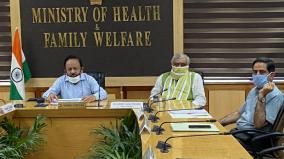 union-health-minister-dr-harsh-vardhan-and-mos-health-and-family-welfare-ashwini-choubey-hold-a-meeting-via-video-conferencing-with-state-health-ministers-to-review-actions-on-covid19-management