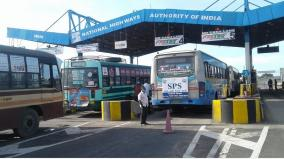 tollgate-staff-stop-govt-buses-in-dindigul-passengers-suffer
