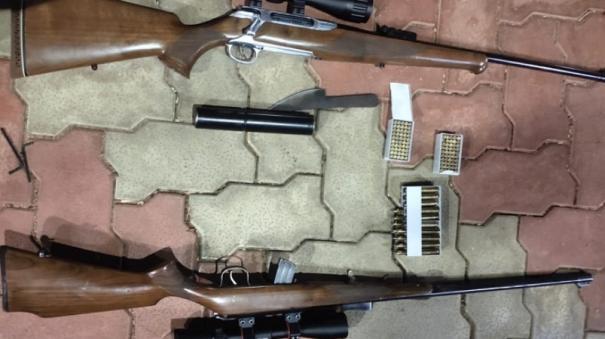 2-rifles-and-100-bullets-seized-near-sivaganga