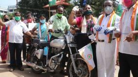 mp-vasanthakumar-protests-against-petrol-diesel-hike