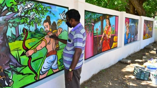 sangam-age-poetry-depictions-in-madurai-tamil-sangam-compound-wall