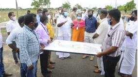minister-collector-corporation-commissioner-inspects-in-madurai-kappalur-for-establishing-market
