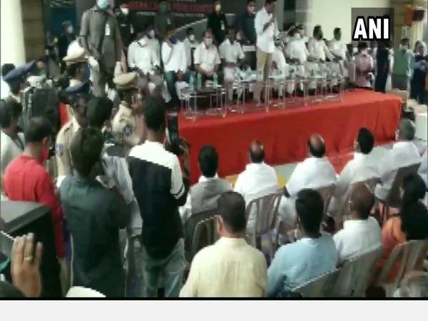 hyderabad-social-distancing-norms-violated-at-private-event-attended-by-trs-leaders
