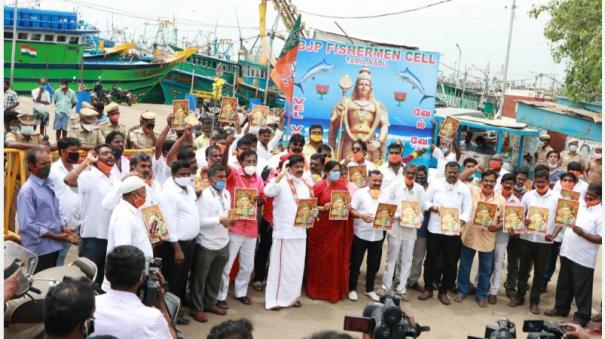 bjp-members-who-went-to-study-kandasashti-in-the-sea-studied-shield-on-the-shore-as-they-were-stopped-by-the-police