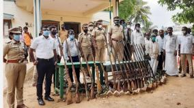 handing-over-of-19-unlicensed-country-rifles-to-the-forest-department-in-the-hosur-forest-reserve