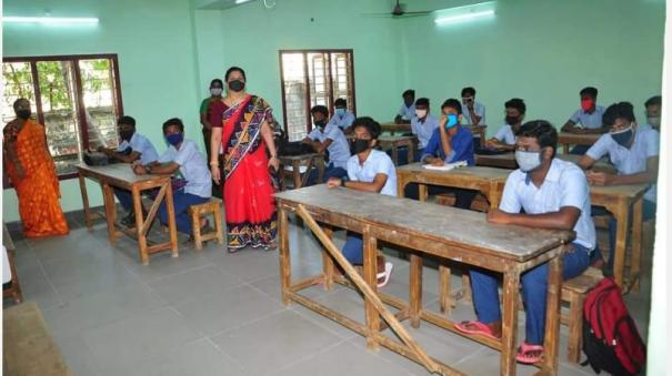 9th-and-11th-class-students-coming-to-school-in-karaikal-pondicherry-with-interest