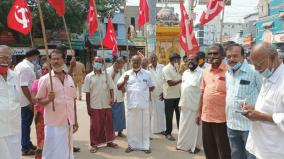 marxist-communist-party-protest-seeking-transport-facility-to-kerala