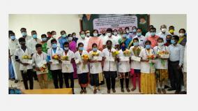 minister-vijayabhaskar-gives-financial-aid-to-mbbs-students