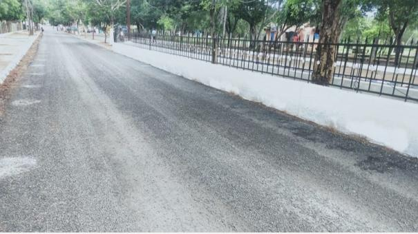 tar-road-laid-for-cm-s-arrival-in-sivagangai-damaged-in-2-days