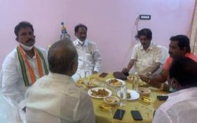 bjp-congress-mlas-eating-together-in-puduchery