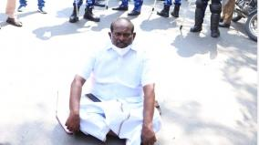 minister-kandasamy-dharna-near-rajnivas-as-he-did-not-get-permission-to-meet-the-governor