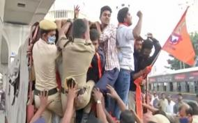 bajrang-dal-protests-against-trs-mla-s-call-to-people-not-to-donate-for-ram-temple