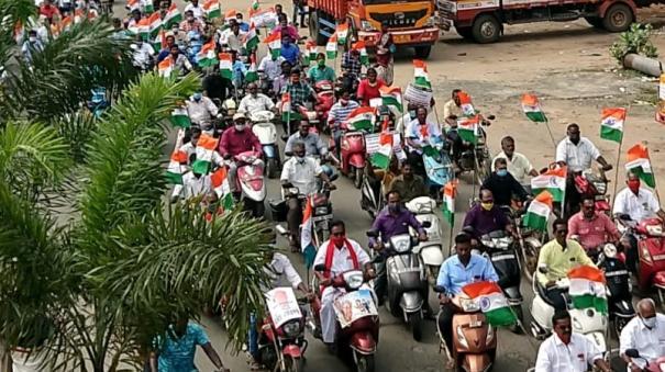 delhi-farmers-motorcycle-procession-of-aituc-farmers-association-in-pondicherry