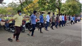 raja-muthiah-medical-college-students-protest-on-55th-day-standing-on-one-leg