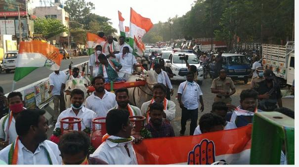 youth-congress-youth-cycle-rickshaw-cattle-rally-in-pondicherry-condemning-petrol-and-diesel-price-hike