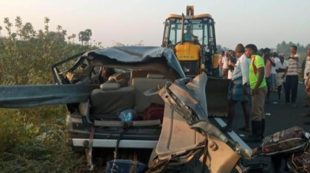 car-crash-in-keeranur-2-killed-including-a-child-from-chennai-8-people-were-injured