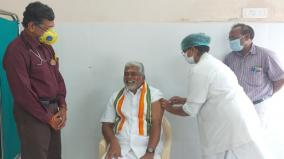 former-puducherry-minister-kamalakannan-has-been-vaccinated
