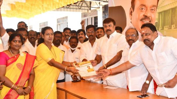 premalatha-submits-application-to-contest-in-election