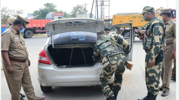 intensive-vehicle-search-by-paramilitaries-at-palayankottai