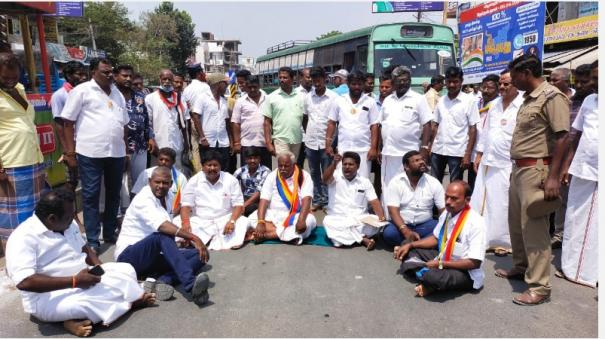 polling-officer-working-in-support-of-dmk-candidate-bjp-pmk-road-blockade-in-chennai