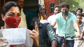 don-t-tie-the-story-about-actor-vijay-coming-on-a-bicycle-and-voting-khushboo-interview