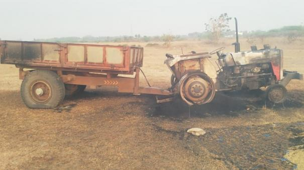 2-youths-killed-near-arakkonam-mysterious-persons-set-fire-to-tractor-two-arrested