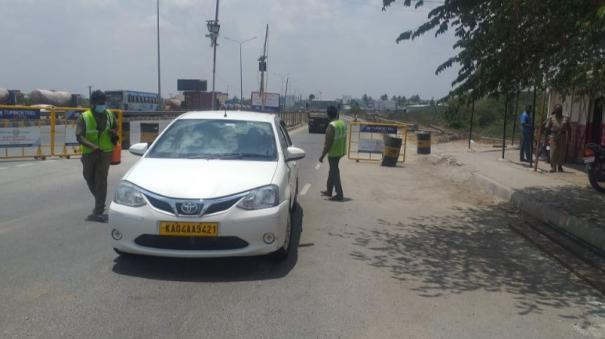 intensification-of-e-pass-vehicle-testing-and-disinfection-of-vehicles-at-the-hosur-border-in-tamil-nadu