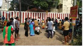 corona-damage-to-a-home-people-block-the-road-because-the-street-is-isolated