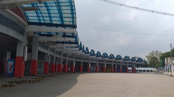 full-lockdown-intensive-vehicle-check-at-tamil-nadu-border-hosur-bus-stand-closed