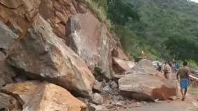 rocks-roll-in-bodimettu-transportation-affected-at-tn-kerala-borders