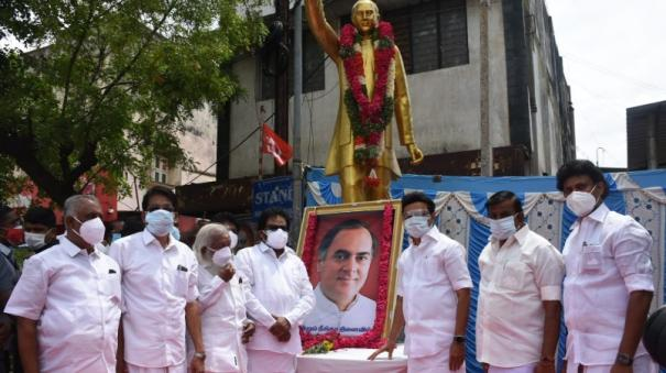 chief-minister-stalin-s-floral-tribute-to-rajiv-gandhi-statue-in-trichy