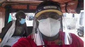free-auto-for-corona-infections-siraj-driving-to-help-the-poor-near-avinashi
