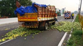 7-tons-of-mangos-rolled-on-the-road-due-to-a-truck-accident