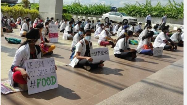 rs-2-000-per-month-for-corona-work-no-food-no-accommodation-coimbatore-private-medical-college-medical-students-protest