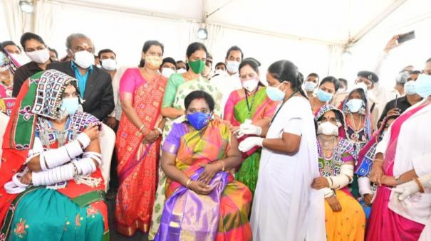 hill-tribe-in-telangana-governor-admits-2nd-dose-of-vaccination-with-people