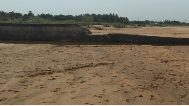 manamadurai-vaigai-river-water-issue-due-to-damaged-check-dam