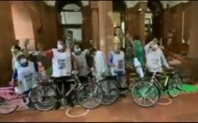 tmc-mp-cycle-to-parliament-protest-fuel-price-hike