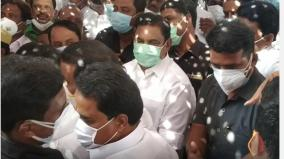 ops-wife-s-body-cremated-today-tribute-to-eps-dmk-aiadmk-bjp-leaders-in-person
