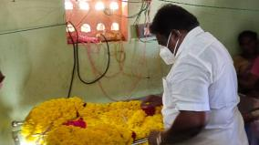 minister-sivasankar-pays-homage-to-the-body-of-a-student-who-committed-suicide-by-hanging